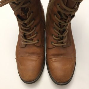 Cognac leather lace-up boots